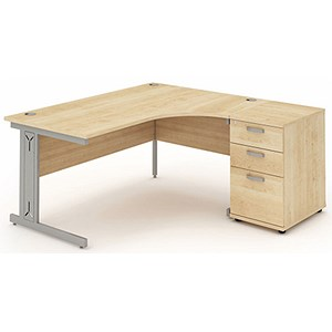 Image of Impulse Plus Radial Desk with 600mm Pedestal / Right Hand / 1600mm Wide / Maple