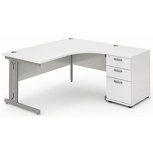 Image of Impulse Plus Radial Desk with 600mm Pedestal / Right Hand / 1800mm Wide / White