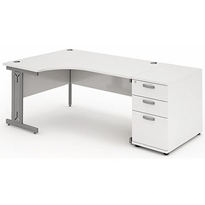 Image of Impulse Plus Radial Desk with 800mm Pedestal / Left Hand / 1600mm Wide / White