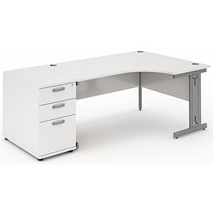 Image of Impulse Plus Radial Desk with 800mm Pedestal / Right Hand / 1600mm Wide / White