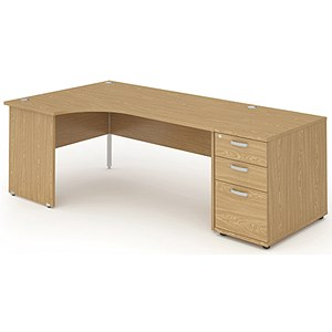 Image of Impulse Panel End Radial Desk with 800mm Pedestal / Left Hand / 1600mm Wide / Oak