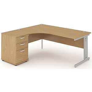 Image of Impulse Plus Radial Desk with 600mm Pedestal / Left Hand / 1800mm Wide / Oak