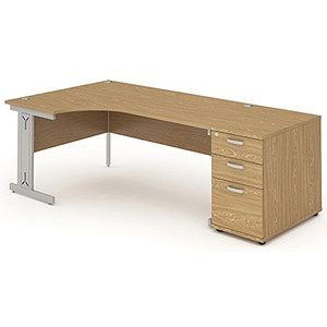 Image of Impulse Plus Radial Desk with 800mm Pedestal / Left Hand / 1600mm Wide / Oak