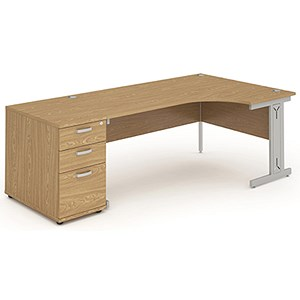 Image of Impulse Plus Radial Desk with 800mm Pedestal / Right Hand / 1800mm Wide / Oak