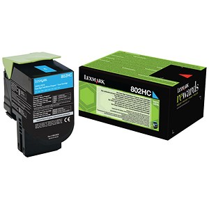 Image of Lexmark 802HC High Yield Cyan Laser Toner Cartridge
