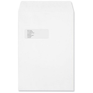 Image of Croxley Script C4 Pocket Envelopes with Window / Pure White / Peel & Seal / Pack of 250