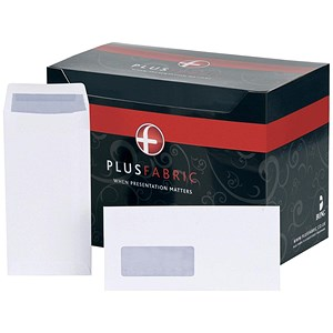 Image of Plus Fabric DL Pocket Envelopes with Window / White / Press Seal / 110gsm / Pack of 500