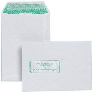 Image of Basildon Bond Recycled C5 Envelopes / Window / White / Peel & Seal / 120gsm / Pack of 500