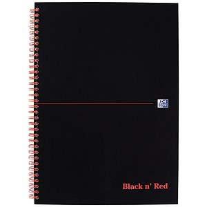 Image of Black n' Red Wirebound Notebook / A4 / 5mm Quadrille / 140 Pages / Pack of 5