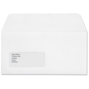 Image of Croxley Script DL Wallet Envelopes with Window / Pure White / Peel & Seal / Pack of 500