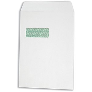 Image of Basildon Bond Recycled C4 Pocket Envelopes / Window / White / Peel & Seal / 120gsm / Pack of 250