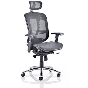 Image of Mirage Executive Chair / Black Mesh / Arms / Headrest