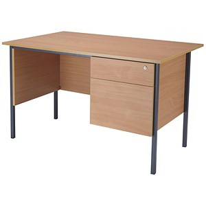 Image of Jemini Intro Traditional Desk with 2-Drawer Pedestal / 1200mm Wide / Beech