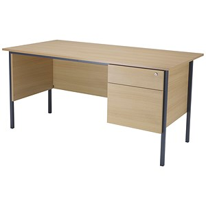 Image of Jemini Intro Traditional Desk with 2-Drawer Pedestal / 1500mm Wide / Oak