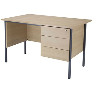Image of Jemini Intro Traditional Desk with 3-Drawer Pedestal / 1200mm Wide / Maple