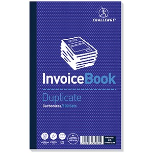 Image of Challenge Carbonless Invoice Duplicate Book / 210mm x 130mm / Without VAT / Pack of 5