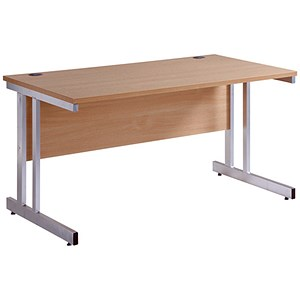 Image of Momento Rectangular Desk / 1400mm Wide / Oak