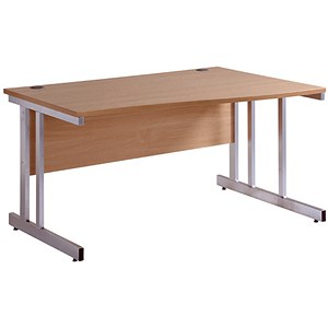 Image of Momento Wave Desk / Right hand / 1400mm Wide / Oak