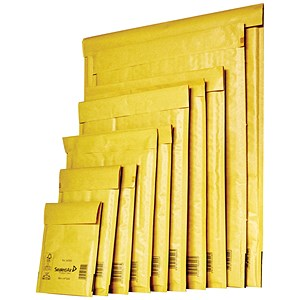 Image of Mail Lite Bubble Lined Postal Bag / Gold / Assorted Sizes / Pack of 50