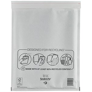 Image of Mail Lite Bubble Lined Postal Bag / White / 270x360mm / Pack of 50