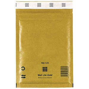 Image of Mail Lite Bubble Lined Postal Bag / Gold / 150 x 210mm / Pack of 10