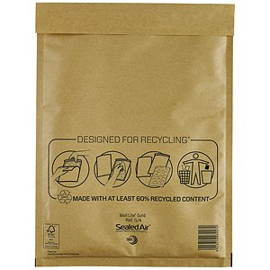 Image of Mail Lite Bubble-Lined Postal Bag / 240x330mm / Peel & Seal / Gold / Pack of 50