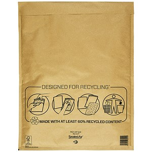 Image of Mail Lite Bubble Lined Postal Bag / Gold / 350x470mm / Pack of 50