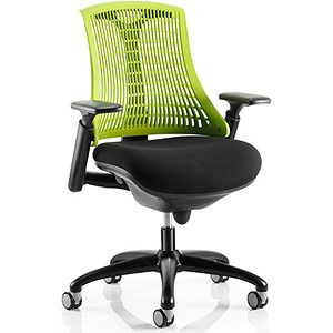Image of Flex Task Operator Chair / Black Frame / Black Seat / Green Back