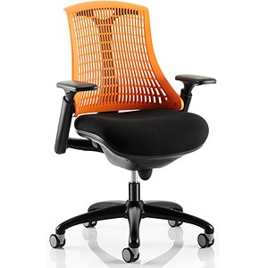 Image of Flex Task Operator Chair / Black Frame / Black Seat / Orange Back