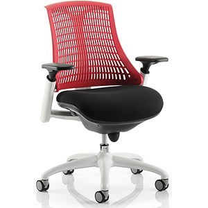 Image of Flex Task Operator Chair / White Frame / Black Seat / Red Back