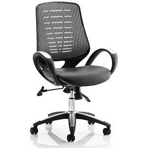 Image of Sprint Leather Operator Chair - Silver Back