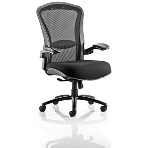 Image of Houston Heavy Duty Task Operator Chair / Mesh Back / Fabric Seat / Black