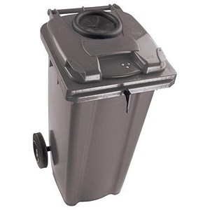 Image of Wheelie Bottle Bank Bin / Aperture Lid Lock / 120 Litre / Grey