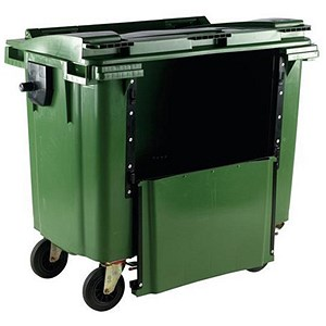 Image of Four-Wheeled Bin with Drop-Down Front / 770 Litre / Green