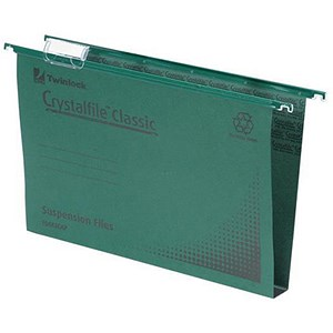 Image of Rexel CrystalFiles Classic Suspension Files / Square Base / 30mm Capacity / A4 / Green / Pack of 50