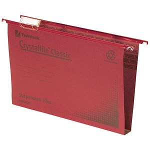 Image of Rexel CrystalFiles Classic Suspension Files / Square Base / 30mm Capacity / Foolscap / Red / Pack of 50