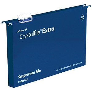 Image of Rexel CrystalFiles Extra Suspension Files / Square Base / 30mm Capacity / Foolscap / Blue / Pack of 25