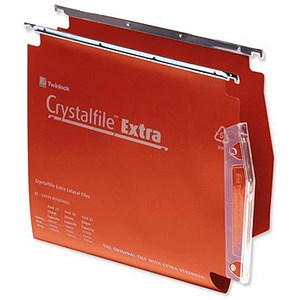 Image of Rexel CrystalFile Extra Lateral Files / Plastic / 275mm Width / 15mm V Base / Red / Pack of 25