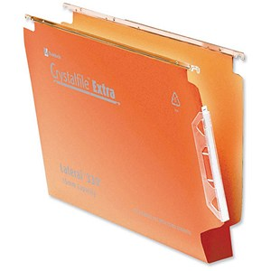 Image of Rexel CrystalFile Classic Lateral Files / 330mm Width / 50mm Square Base / Orange / Pack of 25