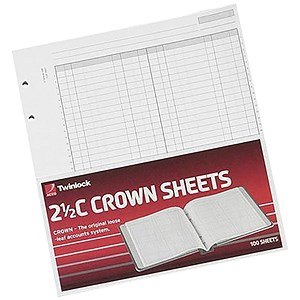 Image of Twinlock 2.5C Crown Double Ledger Sheets / Ref: 75831 / Pack of 100