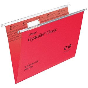 Image of Rexel CrystalFiles Classic Suspension Files / V Base / 15mm Capacity / Foolscap / Red / Pack of 50