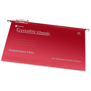 Image of Rexel CrystalFiles Classic Suspension Files / V Base / 15mm Capacity / A4 / Red / Pack of 50
