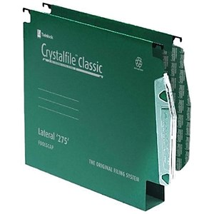 Image of Rexel CrystalFiles Classic Manilla Lateral Files / 275mm Width / 30mm Base / Green / Pack of 50