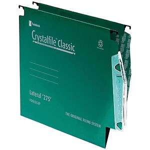 Image of Rexel CrystalFile Classic Lateral Files / Extra Deep / 275mm Width / 15mm V Base / Green / Pack of 50