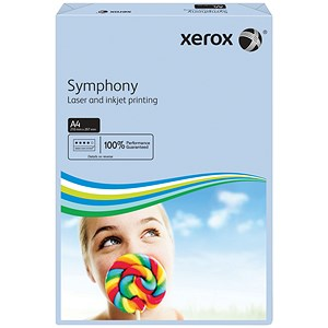 Image of Xerox Symphony Pastel Tints Paper / Blue / A4 / 80gsm / Ream (500 Sheets)