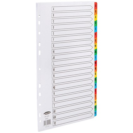Concord Commercial File Dividers, A-Z, Multicoloured Tabs, A4, White