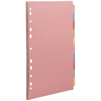 Concord Subject Dividers, 10-Part, A4, Assorted, Pack of 5