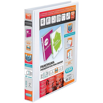 Elba Panorama Presentation Binder, A4, 4 D-Ring, 25mm Capacity, White, Pack of 10