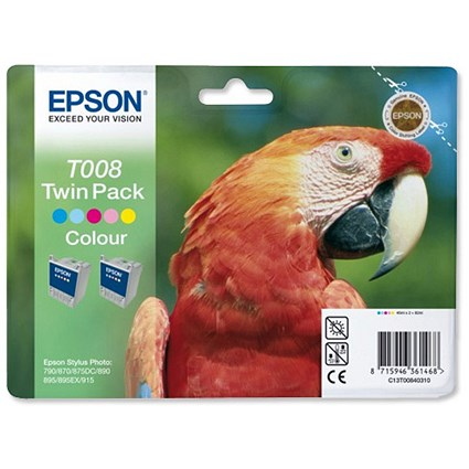 Epson T008 Colour Inkjet Cartridges (Twin Pack)