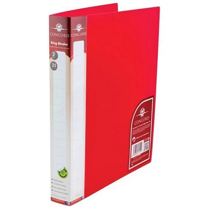 Concord Natural Ring Binder / A4 / 25mm Capacity / Red / Pack of 10